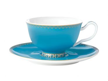 Teas & C's Classic Footed Cup & Saucer 200ML Aqua Gift Boxed