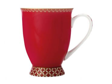 Teas & C's Classic Footed Mug 300ML Cherry Red Gift Boxed