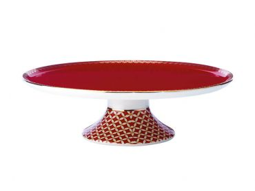 Teas & C's Classic Footed Cake Stand 19.5cm Cherry Red Gift Boxed