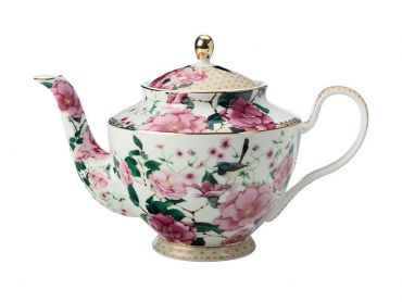 Teas & C's Silk Road Teapot with Infuser 1lt White Gift Boxed
