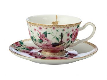 Teas & C's Silk Road Footed Cup & Saucer 200ML White Gift Boxed