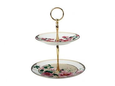 Teas & C's Silk Road 2 Tiered Cake Stand White Gift Boxed