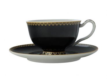 Teas & C's Classic Footed Cup & Saucer 200ML Black Gift Boxed