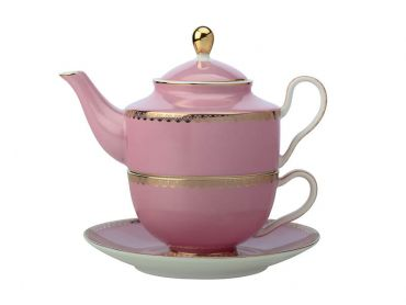 Teas & C's Classic Tea for One with Infuser 380ML Hot Pink Gift Boxed