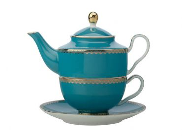 Teas & C's Classic Tea for One with Infuser 380ML Aqua Gift Boxed