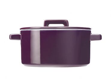 Epicurious Round Casserole 1.3L Aubergine Gift Boxed