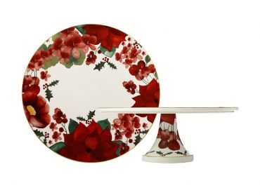 Poinsettia Footed Cake Stand 29cm Gift Boxed