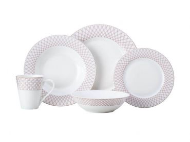 Jewel Rim Dinner Set 20pc Ruby Gift Boxed