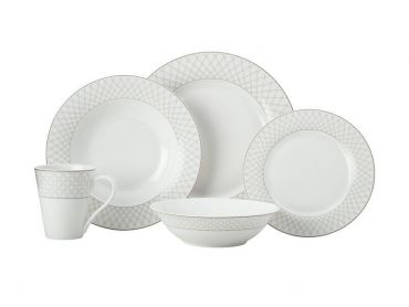 Jewel Rim Dinner Set 20pc Grey Gift Boxed