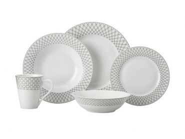Jewel Rim Dinner Set 20pc Black Gift Boxed