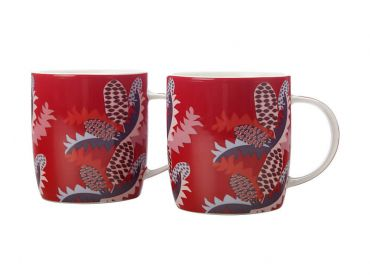 Sassafras Mugs 370ML Set of 2 Red Gift Boxed