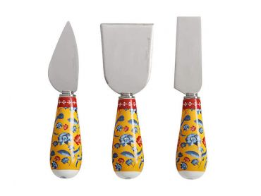 Rhapsody Cheese Knife Set of 3 Red Gift Boxed