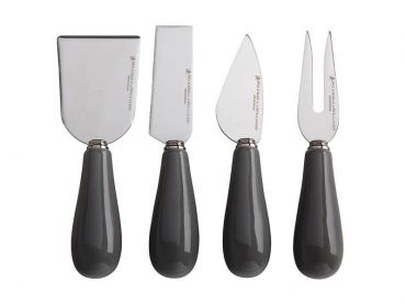 Mezze Cheese Knife Set 4pc Charcoal Gift Boxed