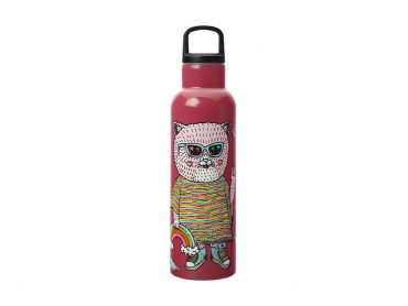 Mulga the Artist Double Wall Insulated Bottle 600ML Cat