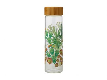 Royal Botanic Garden Arid Garden Glass Water Bottle 550ML Prickly Pear
