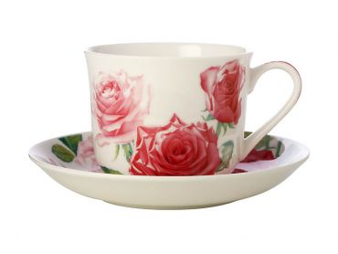 Katherine Castle Floriade Breakfast Cup & Saucer 480ML Roses Gift Boxed