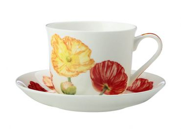 Katherine Castle Floriade Breakfast Cup & Saucer 480ML Poppies Gift Boxed