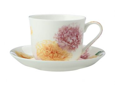 Katherine Castle Floriade Breakfast Cup & Saucer 480ML Carnations Gift Boxed