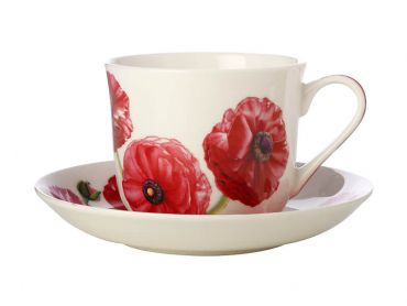 Katherine Castle Floriade Breakfast Cup & Saucer 480ML Ranunculus Gift Boxed