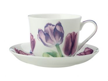 Katherine Castle Floriade Breakfast Cup & Saucer 480ML Tulips Gift Boxed