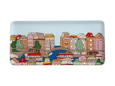 Megan McKean Cities Rectangle Plate 25x12cm Amsterdam Gift Boxed