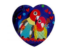 Love Hearts Ceramic Heart Coaster 10cm Love Birds