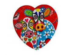 Love Hearts Ceramic Heart Coaster 10cm Happy Moo Day