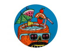 Mulga the Artist Ceramic Round Coaster 10.5cm Coconut