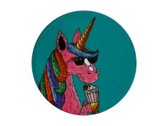 Mulga the Artist Ceramic Round Coaster 10.5cm Unicorn