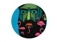 Mulga the Artist Ceramic Round Coaster 10.5m Flamingo Man