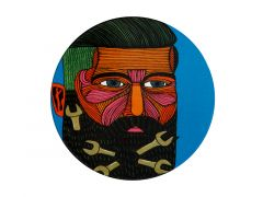 Mulga the Artist Ceramic Round Coaster 10.5cm Spanner Man