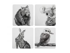 Marini Ferlazzo Animals of Australia Cork Back Coaster 10.5cm Set of 4 Gift Boxed