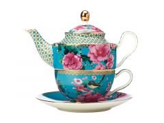 Teas & C's Silk Road Tea For One with Infuser 380ML Aqua Gift Boxed