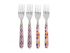 Teas & C's Kasbah Cake Fork Set of 4 Rose Gift Boxed