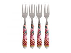 Teas & C's Silk Road Cake Fork Set of 4 Cherry Red Gift Boxed
