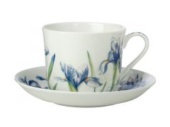 Katherine Castle Floriade Breakfast Cup & Saucer 480ML Irises Gift Boxed