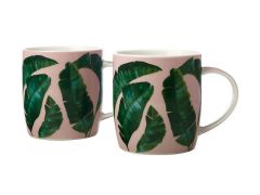 Haven Banana Leaf Mug 380ML Set of 2 Pink Gift Boxed