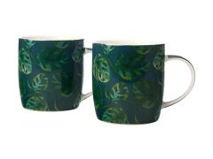 Haven Monstera Mug 380ML Set of 2 Teal Gift Boxed