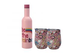 Kasey Rainbow Be Kind Double Wall Insulated Wine Set 3pc Rainbow Gift Boxed