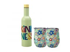 Kasey Rainbow Be Kind Double Wall Insulated Wine Set 3pc Kindness Gift Boxed