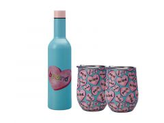 Kasey Rainbow Double Wall Insulated Wine Set 3pc Be Kind Gift Boxed