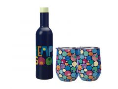 Kasey Rainbow Be Kind Double Wall Insulated Wine Set 3pc Good Gift Boxed