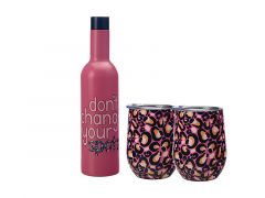 Kasey Rainbow Be Kind Double Wall Insulated Wine Set 3pc Spots Gift Boxed