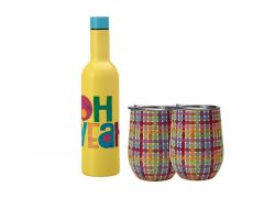 Kasey Rainbow Be Kind Double Wall Insulated Wine Set 3pc Oh Yeah Gift Boxed