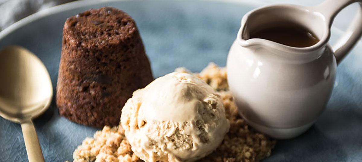 Ultimate sticky date pudding recipe with almond crumble...